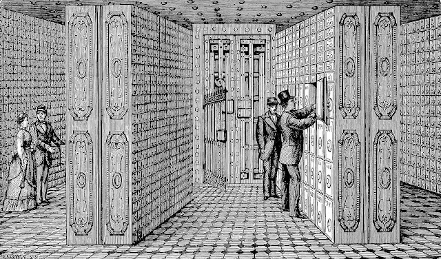 1876 safe deposit boxes in a bank, 1800s bank illustration