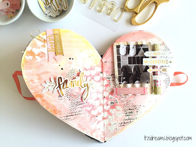 Scrapbooking, Lay Out, Mini Minc, Mini Book, Watercolor, Mix Media, San Valentin, Scrap, Scrapbook.