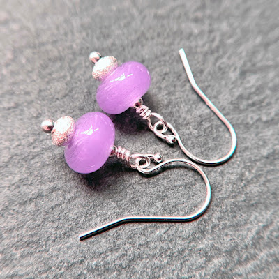 Handmade lampwork glass bead earrings by Laura Sparling made with CiM Luzern