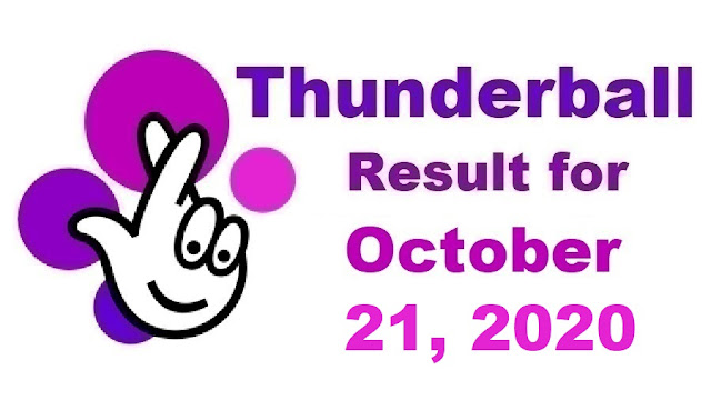 Thunderball Results for Wednesday, October 21, 2020