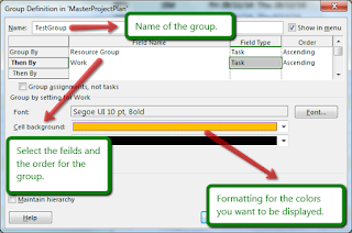 MS Project Feature - Filter, Groups, Highlight