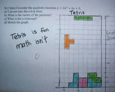 Jawaban absurd dalam ulangan | Matematika tetris
