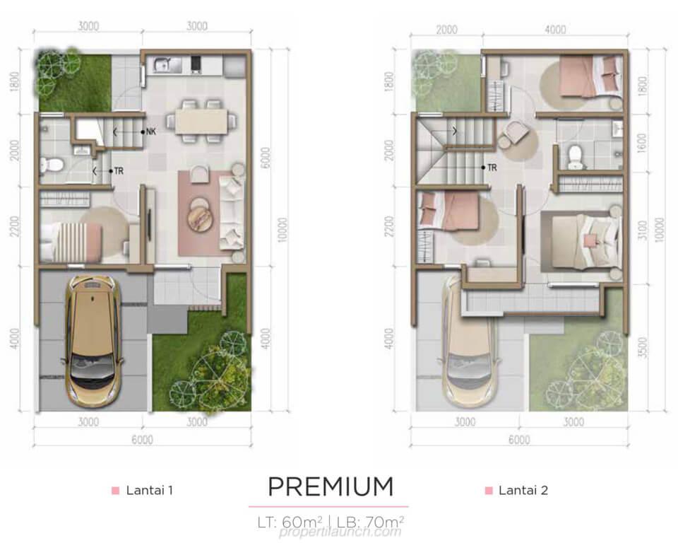 Denah Rumah Harumi Homes Tipe Tsubaki Premium
