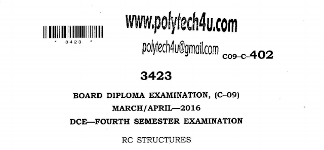 SBTET AP RC STRUCTURES PREVIOUS QUESTION PAPERS - C09