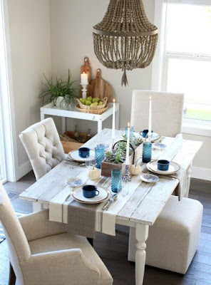 Upholstered dining room and white dining table