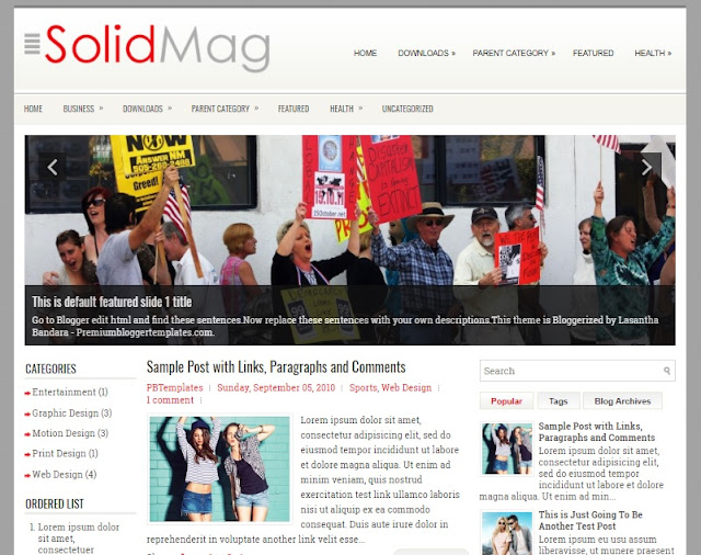 SolidMag Blogger Template has a Featured Content Slider Free Download SolidMag Blogger Template