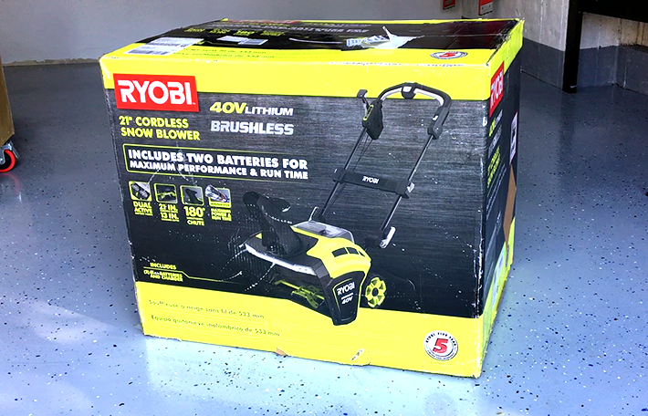 Ryobi snow blower in box