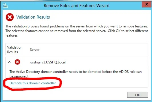 Demote this domain controller