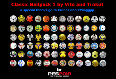 PES 2019 Ball-Server Pack Classic V1 AIO by Vito and Trokut (108 Balls)