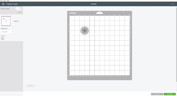 Then click the make-it button. It will take you to the mat layout page. Center the image on the 3x3 intersection.