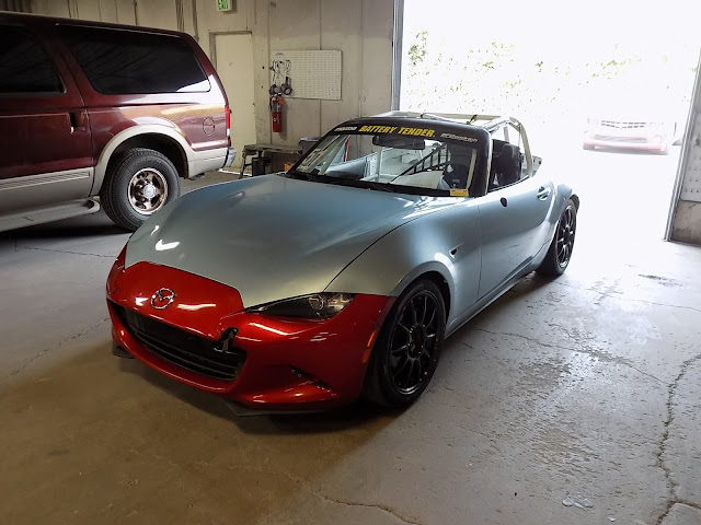 Cobbled together Mazda Miata Race Car before body repairs & paint at Almost Everything Auto Body.