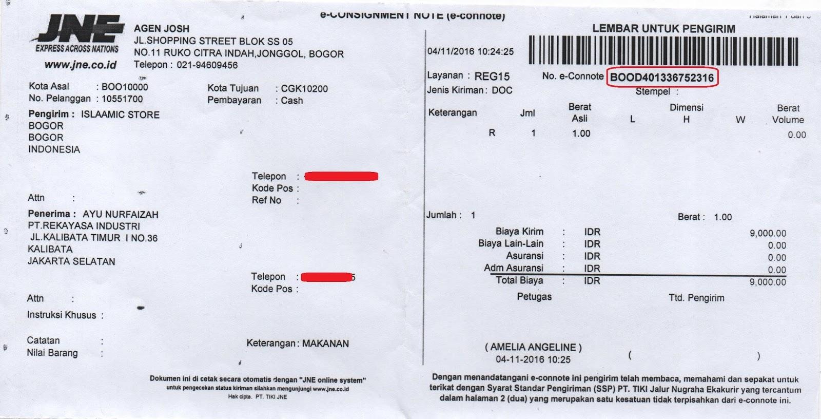 Contoh Resi Airwaybill Ekspedisi Pengiriman Brankas Arsip