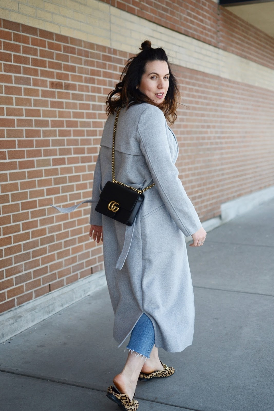 Gucci Marmont bag vancouver blogger outfit grey wool Tom Taylor coat Sears levis wedgie jeans