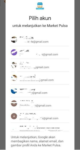 Akun email login app market pulsa