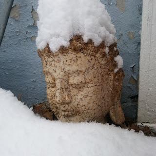 shoveling snow with buddha