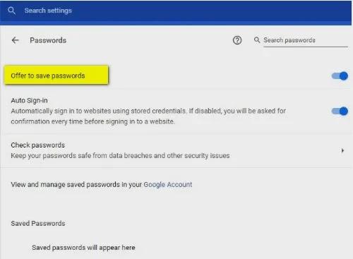 صورة Offer to save passwords