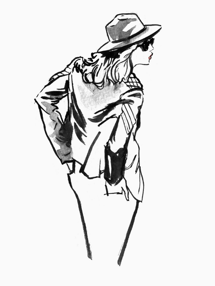 Black and white fashion sketch fashion illustration