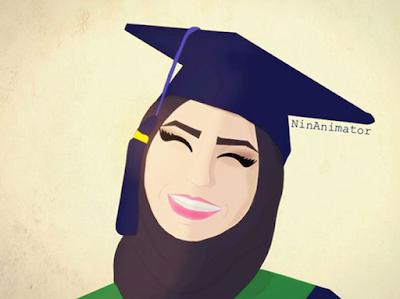 Gambar kartun muslimah wisuda