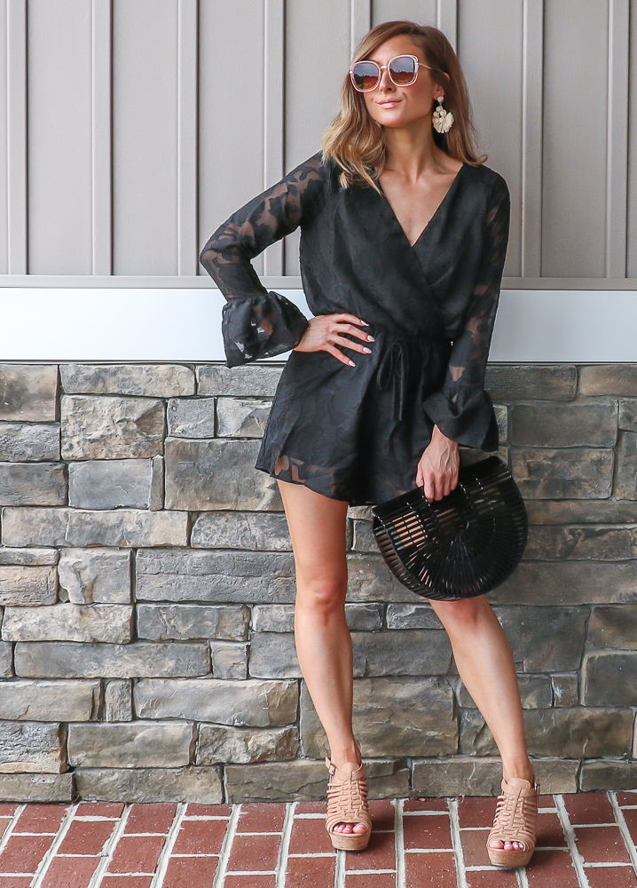 francescas black lace wrap romper