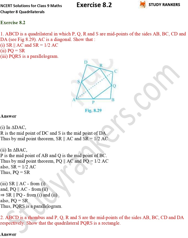 .NCERT Solutions for Class 9 Maths Chapter 8 Quadrilaterals Exercise 8.2 Part 1