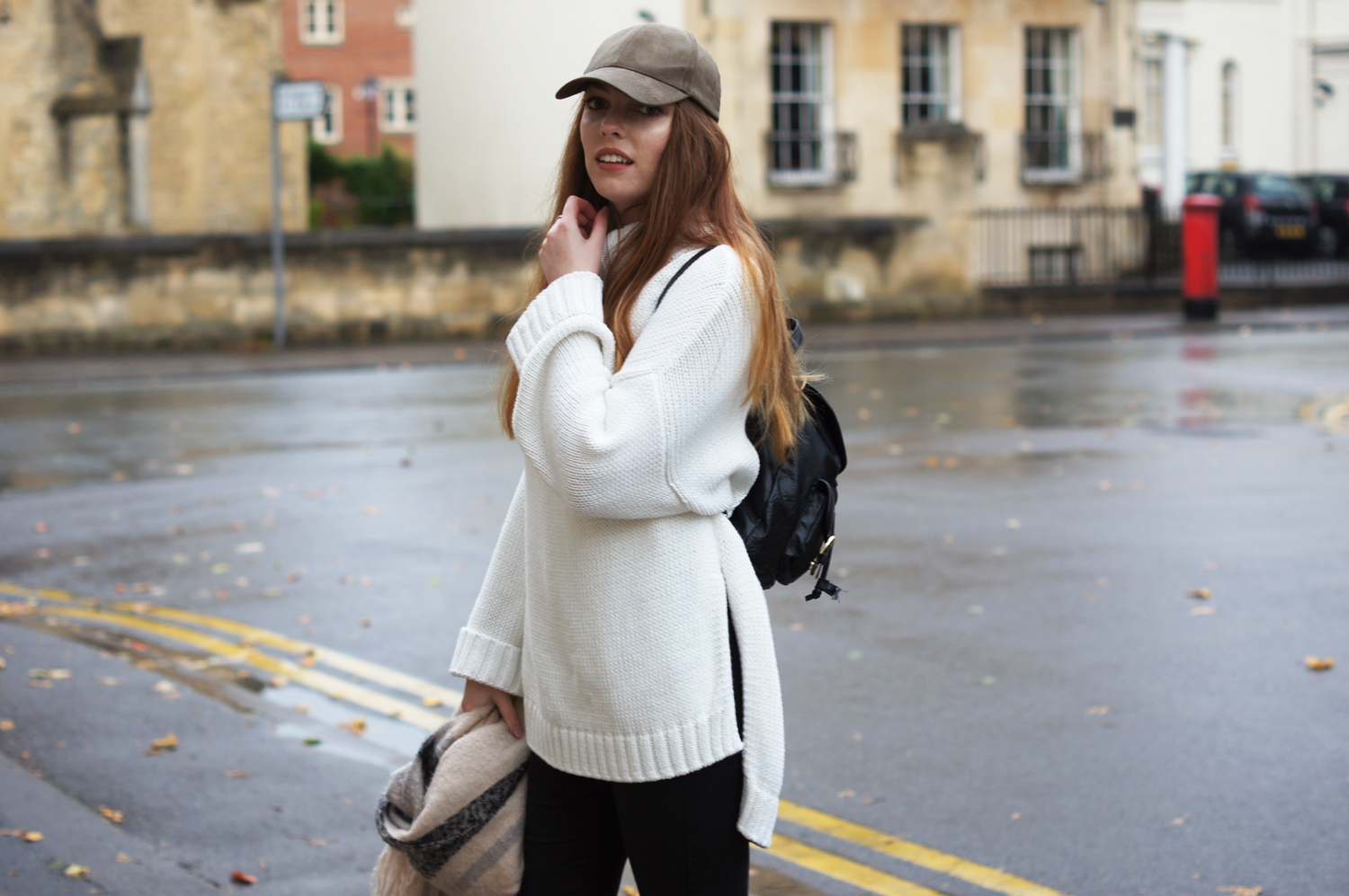 oversized white knit jumper