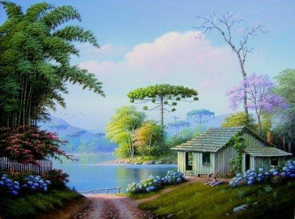 Cuadros modernos pinturas y dibujos naturalismo en los for Casas modernas famosas