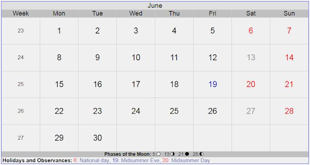 Calendar for June 2020 Sweden