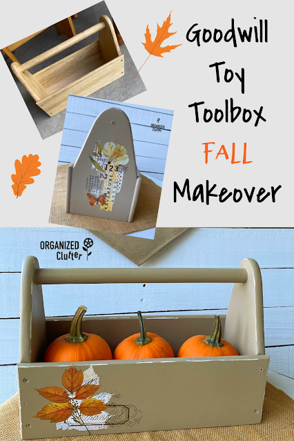 Photo of a toolbox decorated with fall decor transfers.