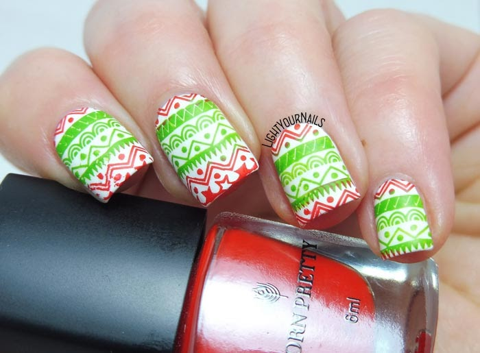 Red green white Christmas stamping nail art feat. BeautyBigBang XL-032 plate nail art di Natale verde rosso bianco #nailart #beautybigbang #nails #lightyournails #unghie #stamping