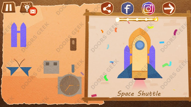 Chigiri: Paper Puzzle Master Level 2 (Space Shuttle) Solution, Walkthrough, Cheats