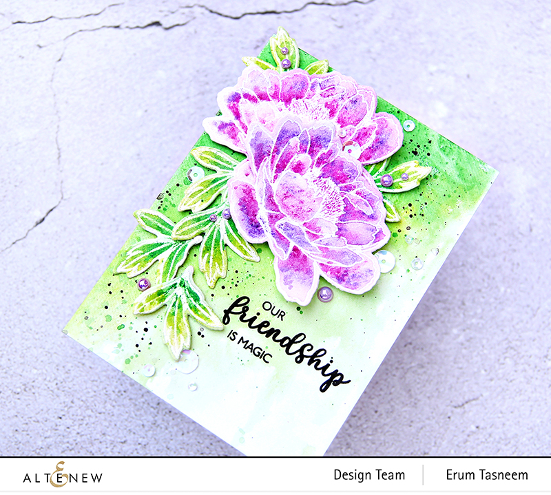 Altenew Build-A-Flower: Hawaiian Coral + Woodless Watercolour Pencils | Erum Tasneem | @pr0digy0