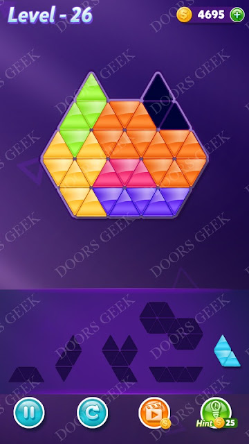 Block! Triangle Puzzle Intermediate Level 26 Solution, Cheats, Walkthrough for Android, iPhone, iPad and iPod