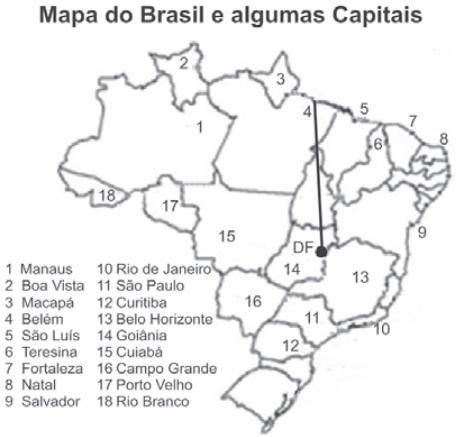 Mapa do Brasil e algumas Capitias