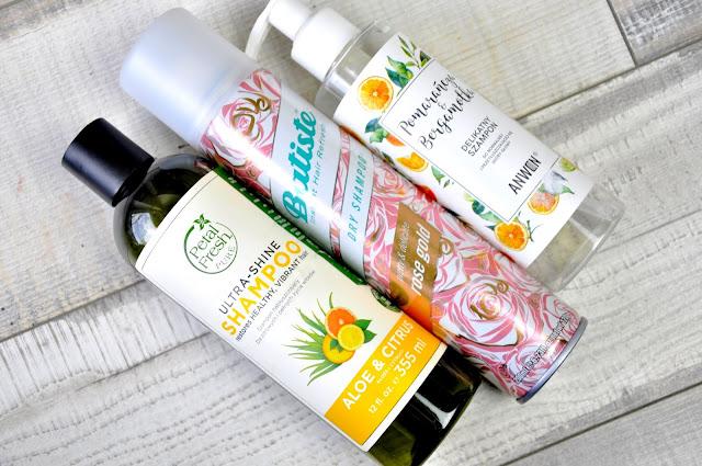 szampon petal fresh ultra-shine shampoo aloe&citrus, suchy szampon batiste rose gold, szampon anwen pomarańcza&bergamotka