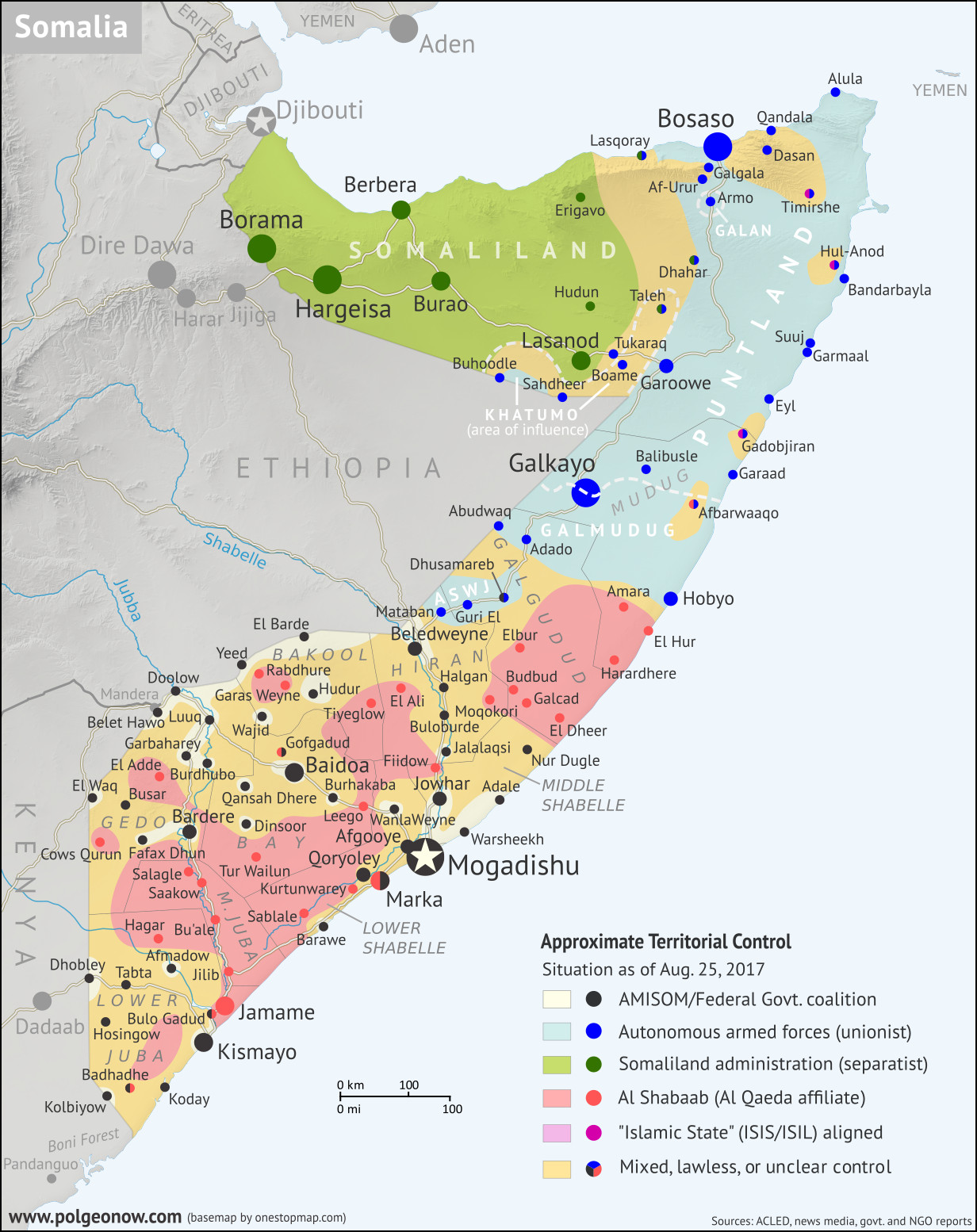 Who controls Somalia? Map (2017). With states, regions, and territorial control. Best Somalia control map online, thoroughly researched and detailed but concise. Shows territorial control by Federal Government of Somalia (FGS), Al Shabaab, so-called Islamic State (ISIS/ISIL), separatist Somaliland, and autonomous states Puntland, Galmudug, Khatumo, and the ASWJ Sufi militia. Updated to of August 25, 2017. Colorblind accessible.