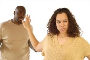 Something is. Black couple arguing speaking