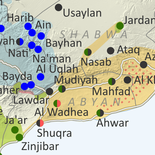 Map of what's happening in Yemen as of September 2021, including territorial control for the unrecognized Houthi government, president-in-exile Hadi and his allies in the Saudi-led coalition, and the UAE-backed southern separatist Southern Transitional Council (STC), plus major areas of operations of Al Qaeda in the Arabian Peninsula (AQAP). Includes recent locations of fighting and other events, including Marib, Rahabah, Harib, Bayhan, and many more.
