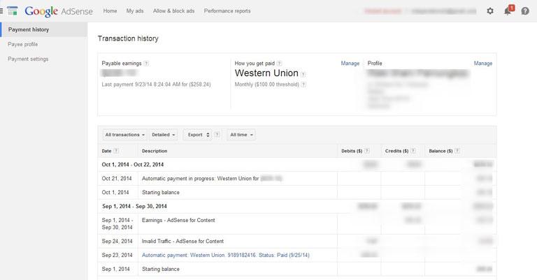 Menu Payment Google AdSense