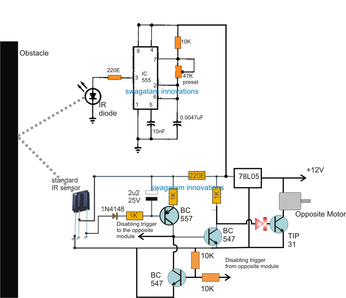 Simple Obstacle Avoiding Robot Circuit Without Microcontroller