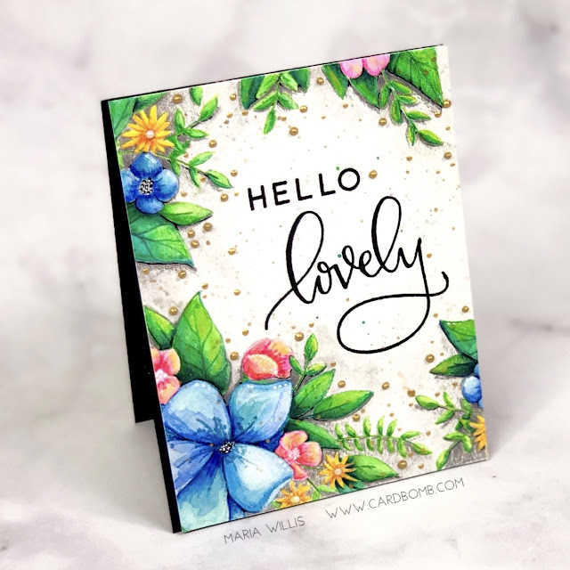 Maria Willis, #cardbomb, #concord&9th, Hello Lovely, #cards, #stamp, #ink, #paper, #craft, #create, #art, #handmade, #diy, #cardmaker, #watercolor, #nuvo, #danielsmithwatercolors