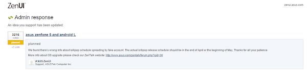 Jadwal Rilis update lollipop untuk zenfone di undur bulan mei