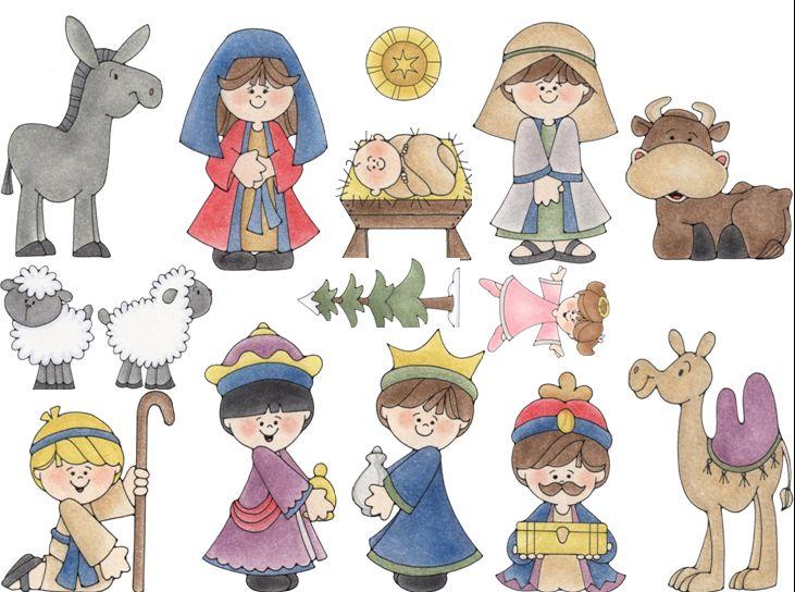 Ba l de navidad bel n infantil recortable de 16 figuras - Dibujos de belenes ...