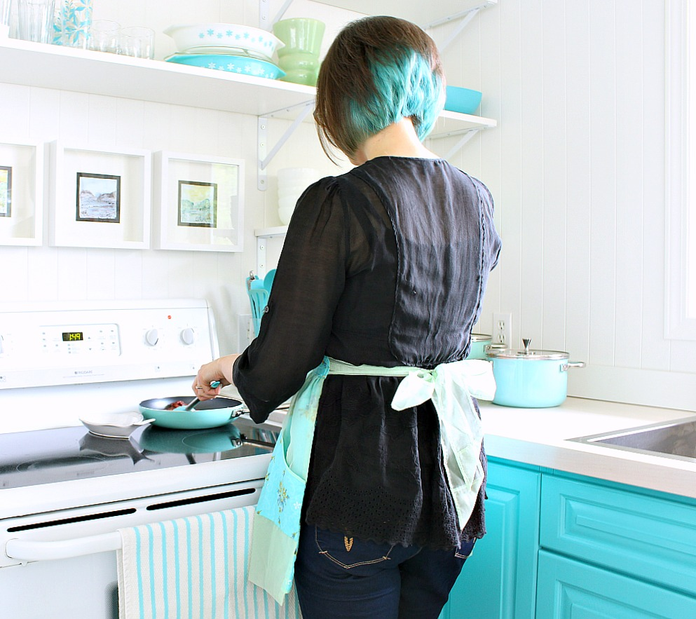 Cooking in my turquoise kitchen