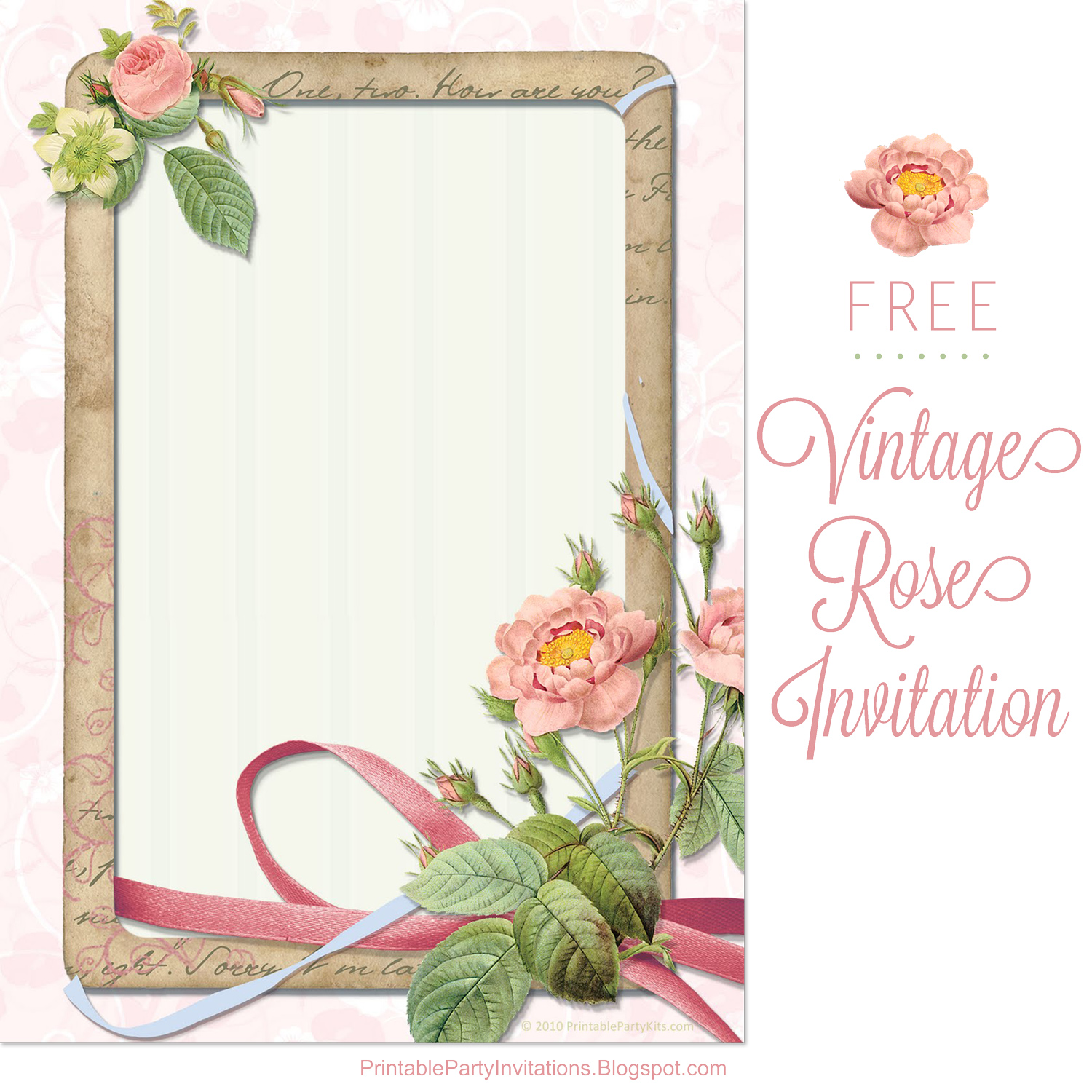 Free Printable Party Invitations Garden Roses Vintage