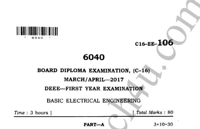 Sbtet Basic Electrical Engineering c16 previous question papers eee march-april 2017