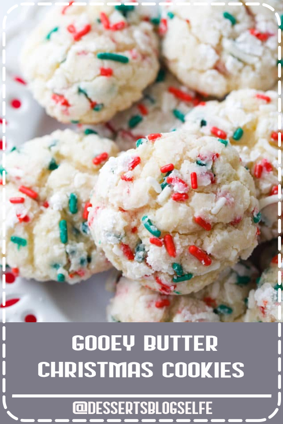 Gooey Butter Christmas Cookies | Easy Holiday Cookies | Gooey Butter Cookeis Recipe | Cake Mix Cookies #DessertsBlogSelfe #ChristmasCookies #GooeyButter #Cookies #Christmas #Party #DessertsforParties  #cookieexchange