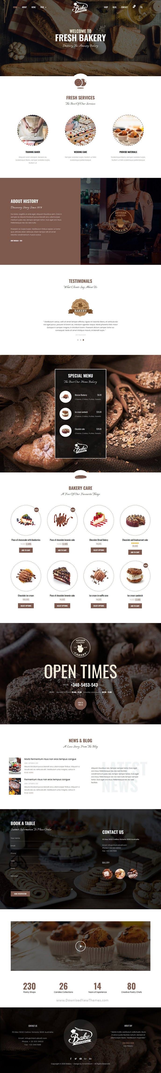 Bakery & Cake Elementor Template Kit