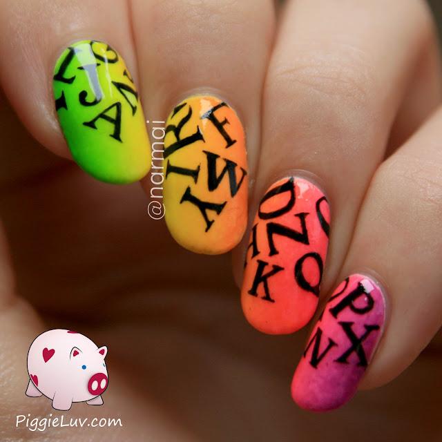 PiggieLuv: Neon letter rain nail art (glow in the dark) + video tutorial