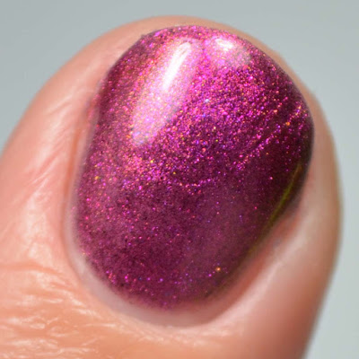 purple multichrome nail polish close up swatch
