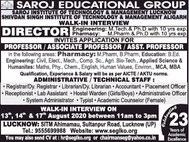 Saroj Aligarh Biotech Faculty Jobs